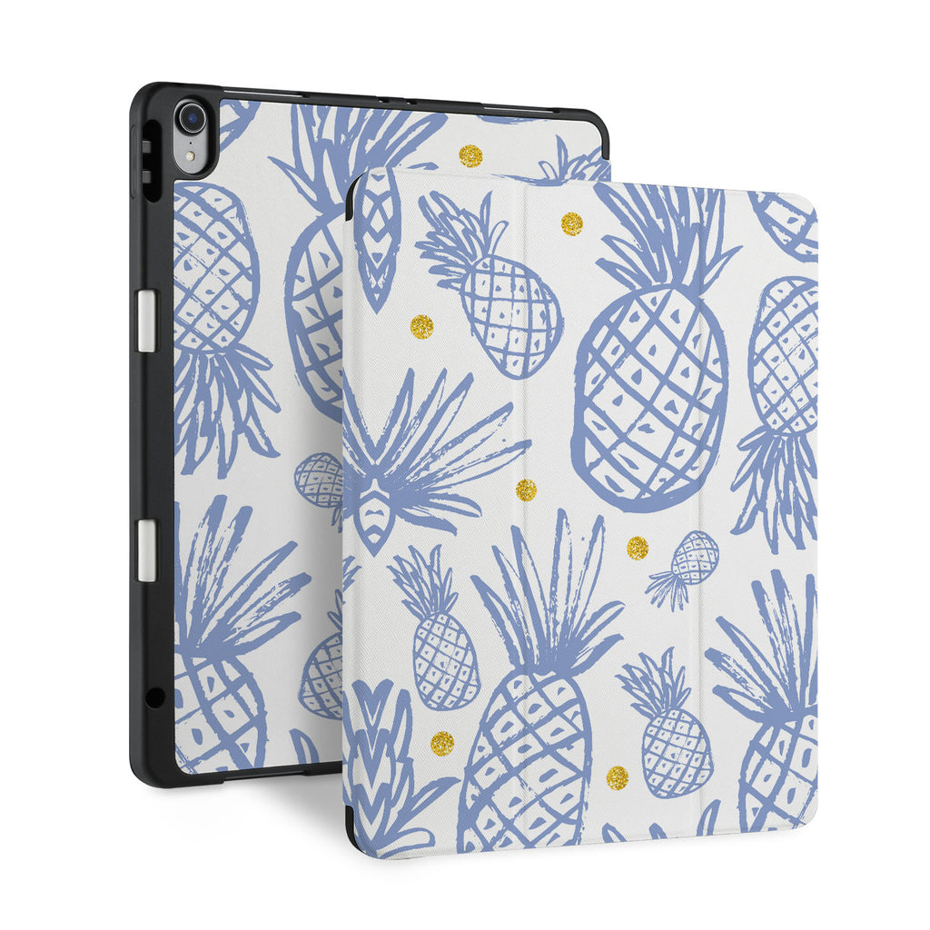front and back view of personalized iPad case with pencil holder and Fruit design