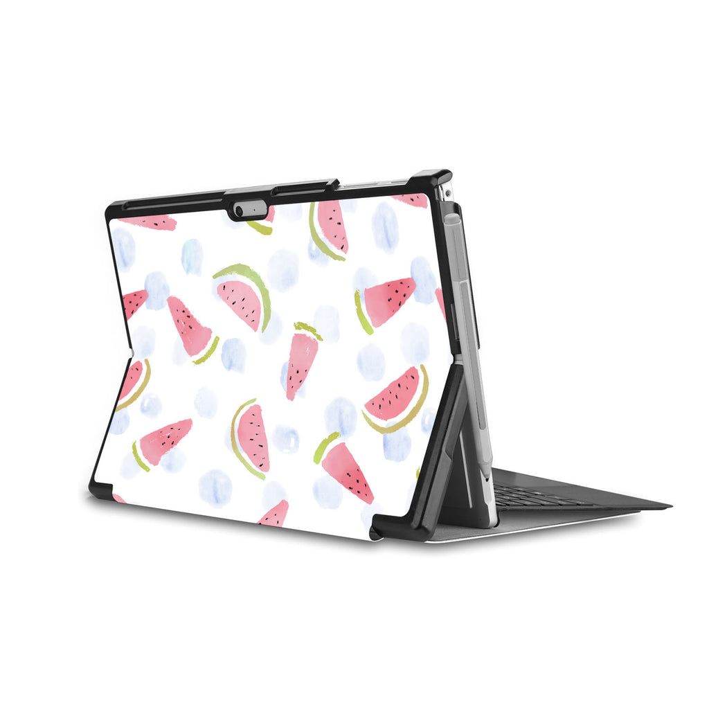 the back side of Personalized Microsoft Surface Pro and Go Case in Movie Stand View with Fruit Red design - swap