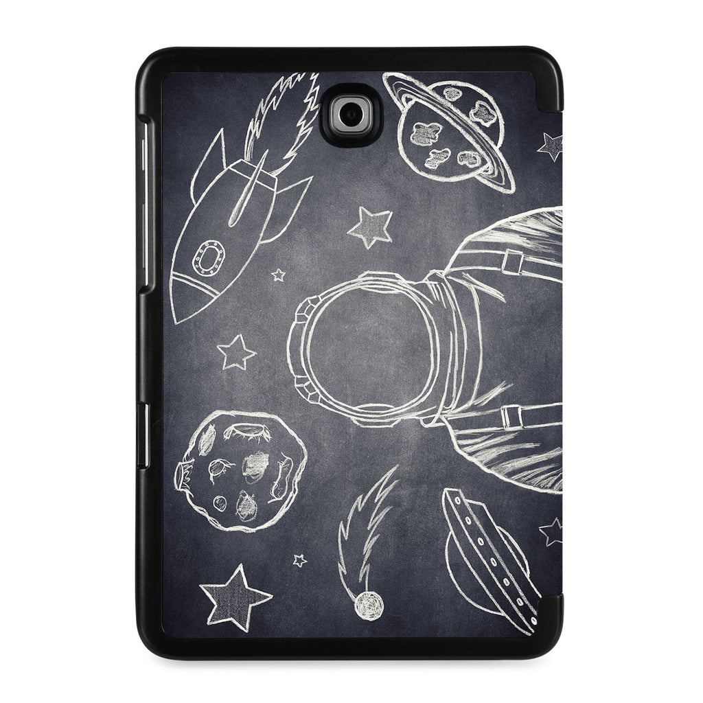 the back view of Personalized Samsung Galaxy Tab Case with Astronaut Space design