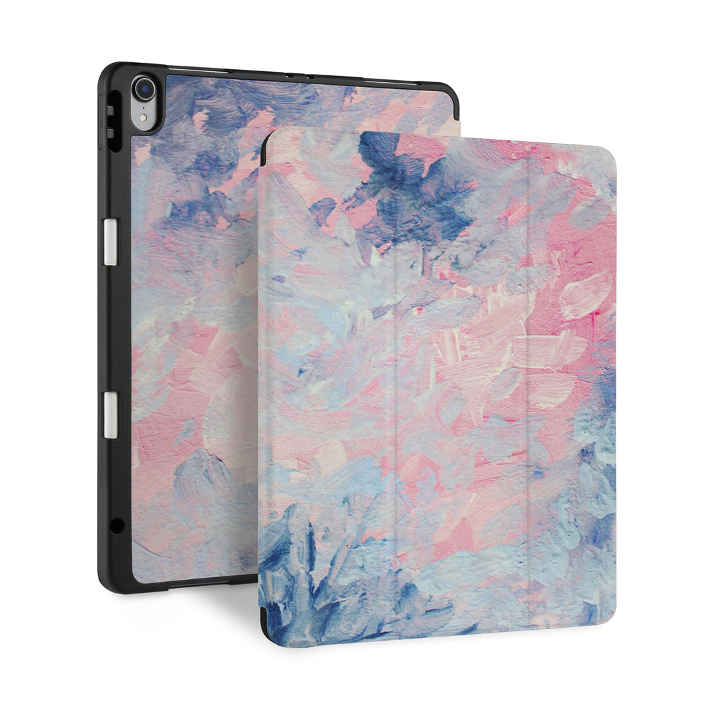 front back and stand view of personalized iPad case with pencil holder and Oil Painting Abstract design - swap