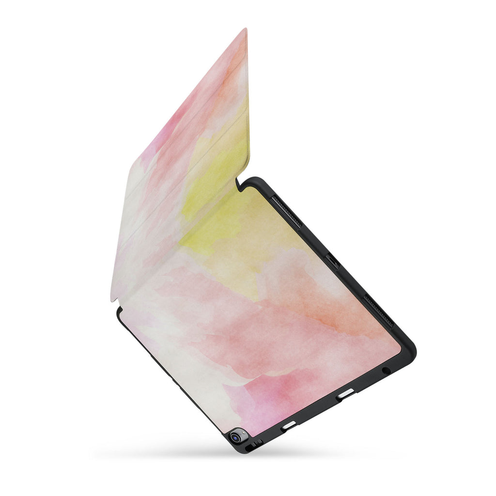 personalized iPad case with pencil holder and Watercolour design