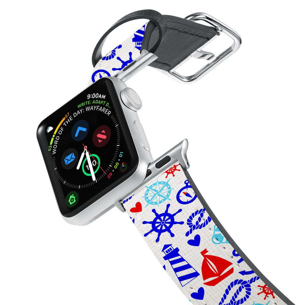 Printed Leather Apple Watch Band with 8 design. Designed for Apple Watch Series 4,Works with all previous versions of Apple Watch.