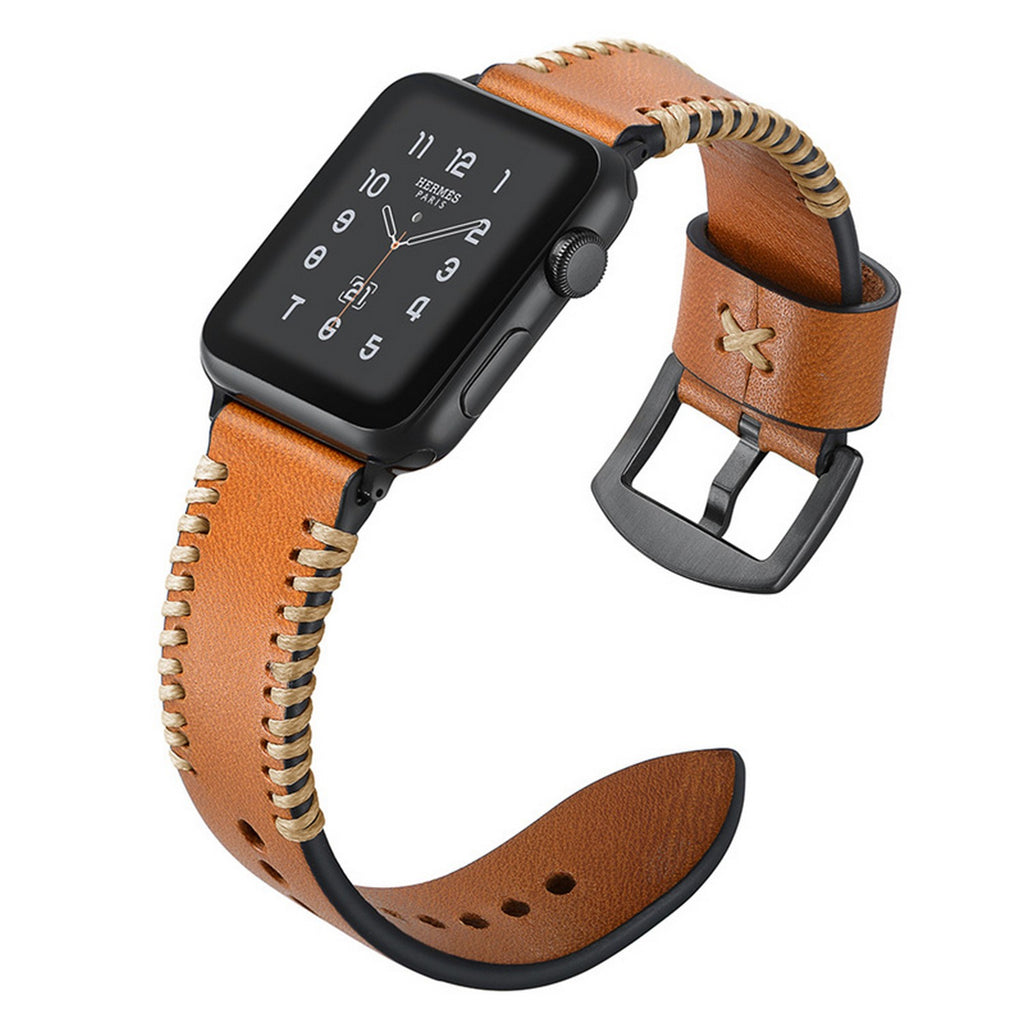 Classic Designer Leather Apple Watch Band - Brown