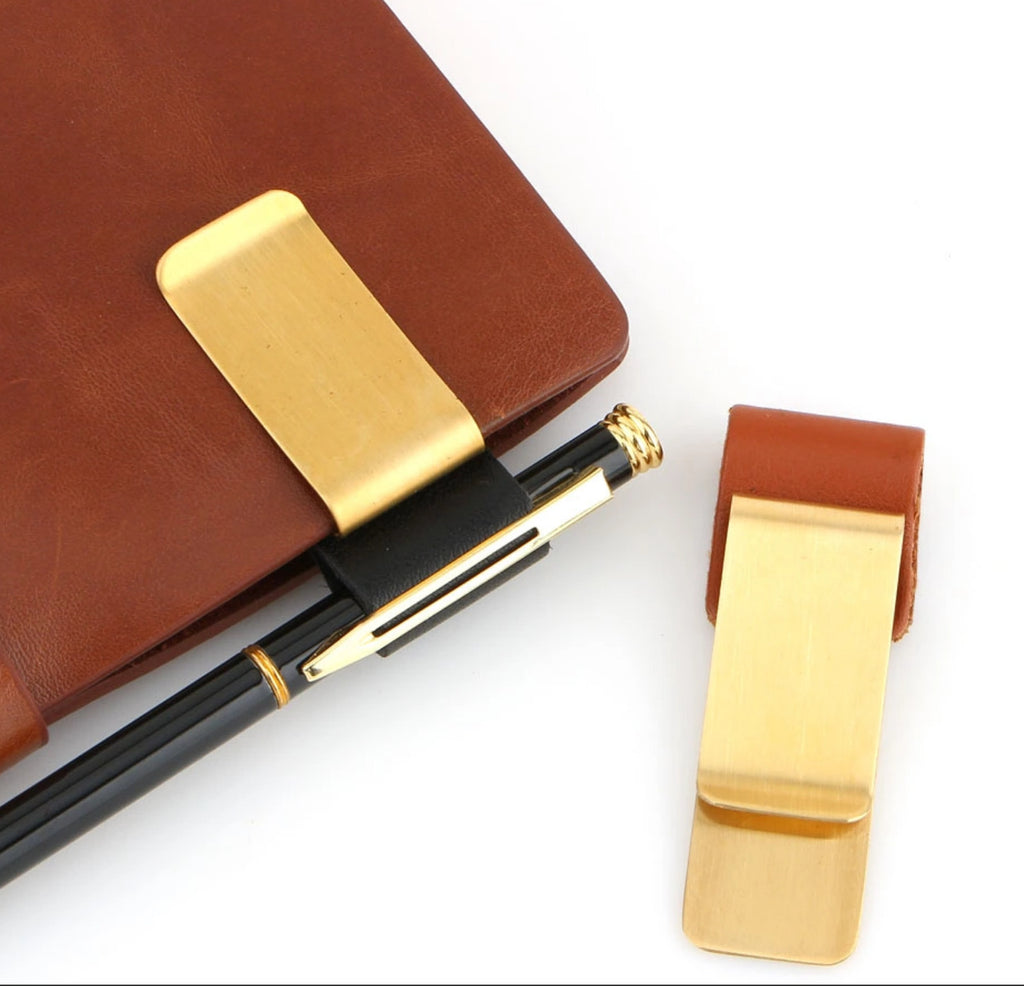 Travel Journal Leather Pen Clip