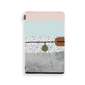 the front top view of midori style traveler's notebook with scandi spots and stripes design