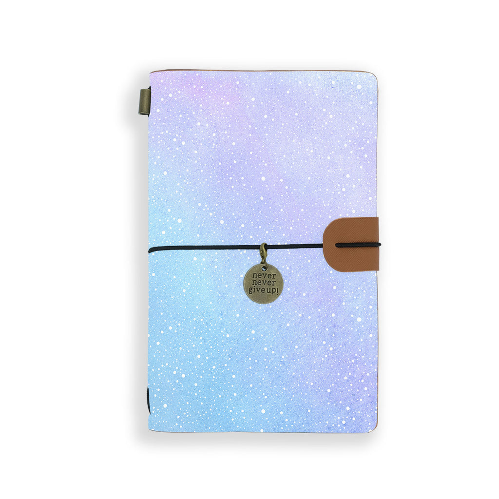 the front top view of midori style traveler's notebook with ombre pastel galaxy design