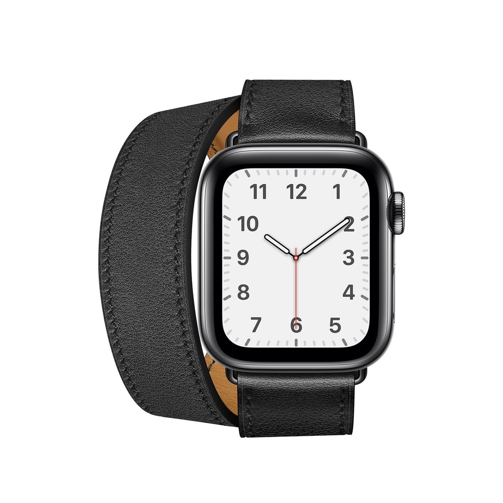 Double Tour Genuine Leather Band for Apple Watch - Black