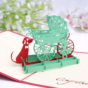 Pop Up 3D Greeting Card - Baby Stroller