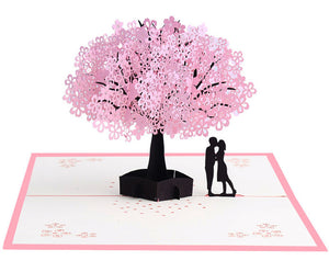 Pop Up 3D Greeting Card - Cherry Blossom and Couple