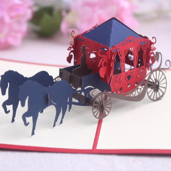 Pop Up 3D Greeting Card - Horse Carriage
