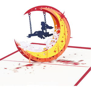 Pop Up 3D Greeting Card - Moon Swing