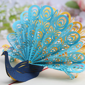 Pop Up 3D Greeting Card - Peacock