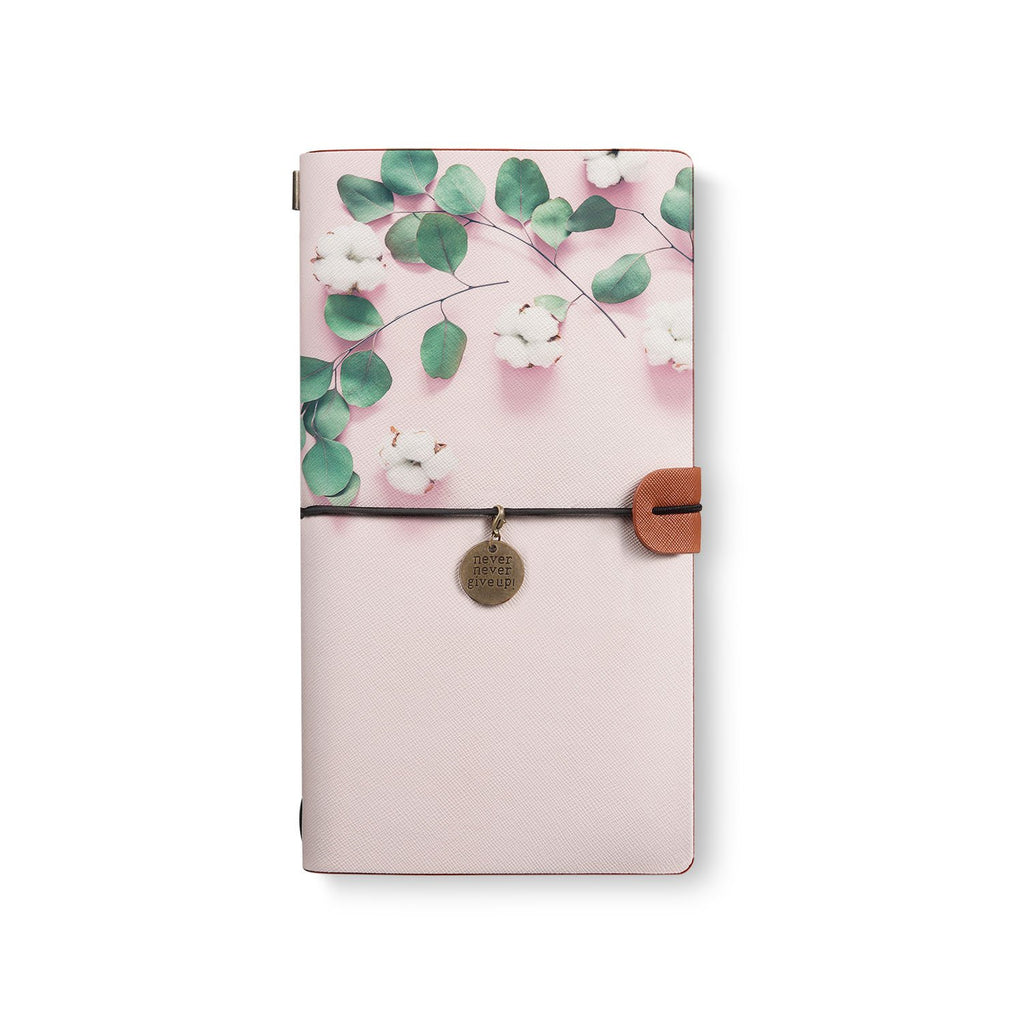 the front top view of midori style traveler's notebook with 4 design
