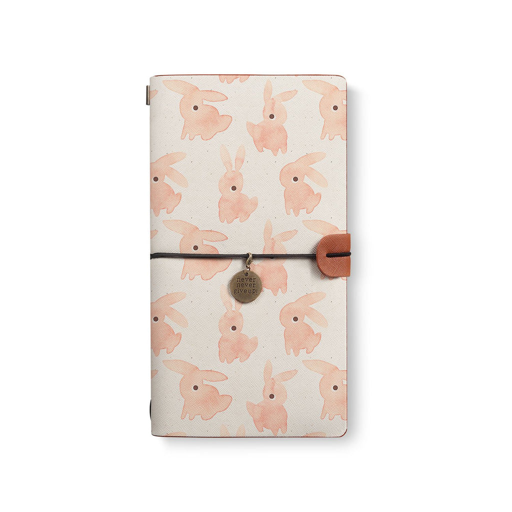 the front top view of midori style traveler's notebook with 6 design