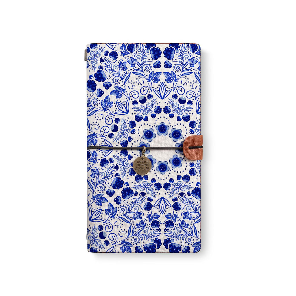 the front top view of midori style traveler's notebook with 1 design