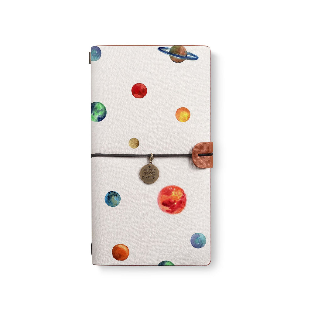 the front top view of midori style traveler's notebook with 3 design
