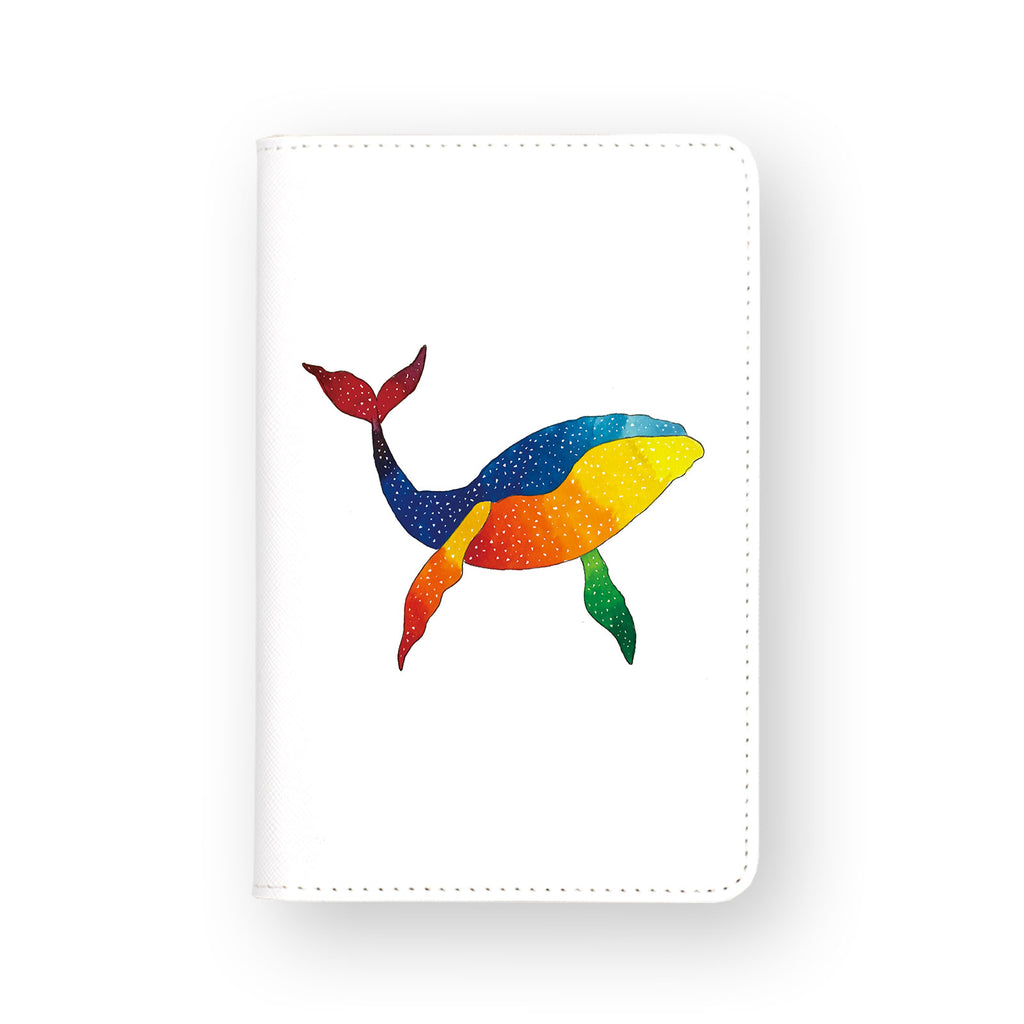 front view of personalized RFID blocking passport travel wallet with Blue And Rainbow Whale design