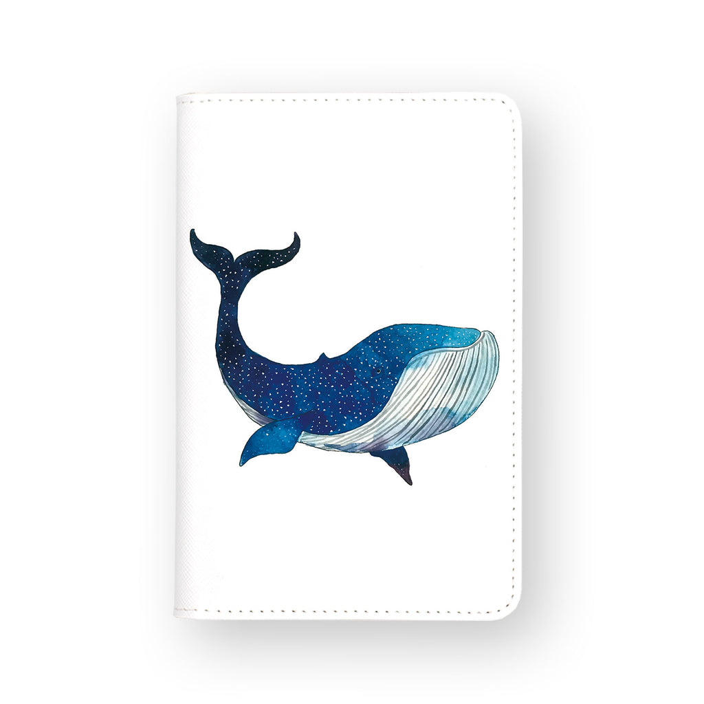 front view of personalized RFID blocking passport travel wallet with Galaxy Whale design