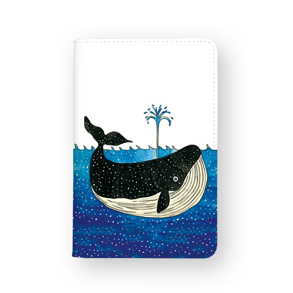 front view of personalized RFID blocking passport travel wallet with Illustration Whale design