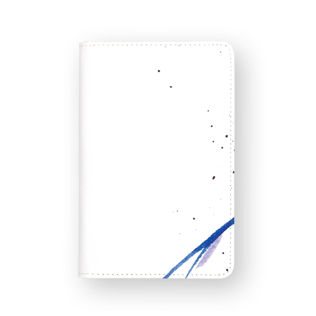 front view of personalized RFID blocking passport travel wallet with Blue Jellyfish design
