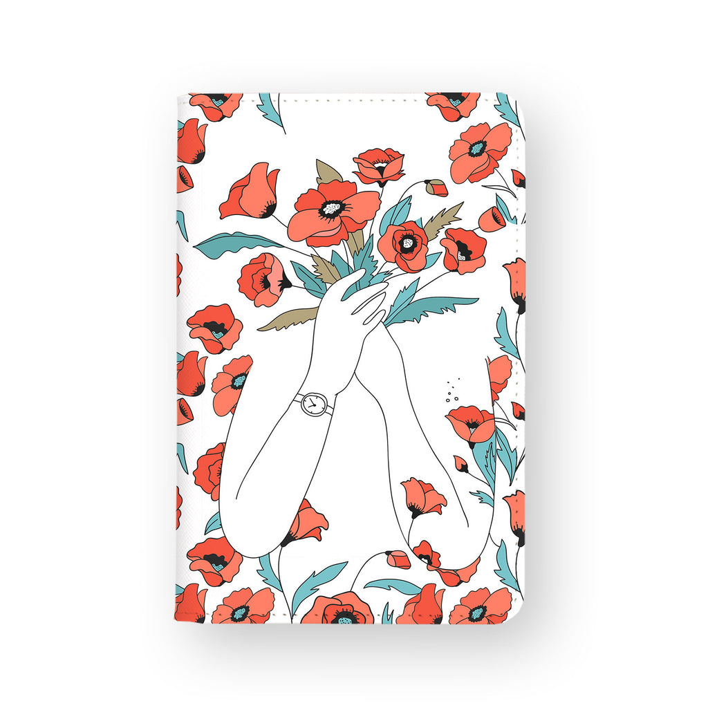 front view of personalized RFID blocking passport travel wallet with Bouquet Of Flowers A design