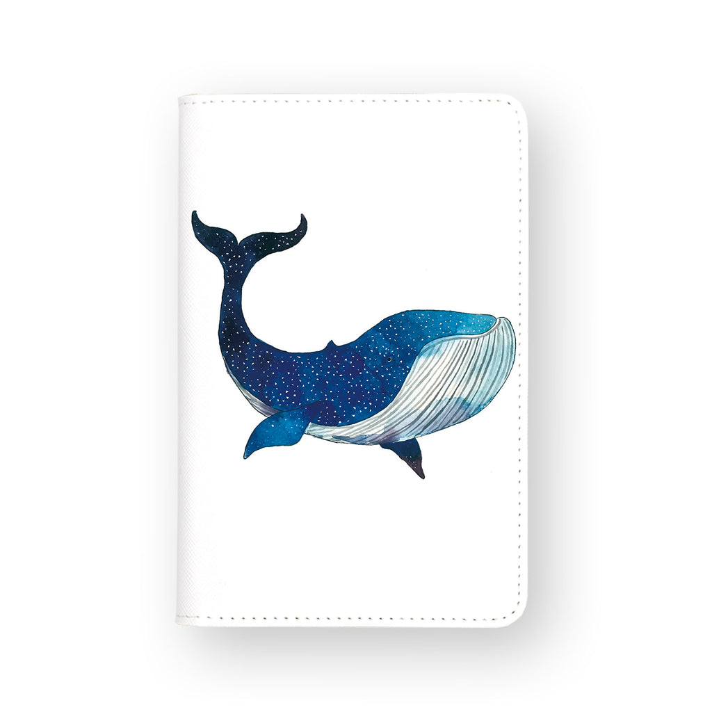 front view of personalized RFID blocking passport travel wallet with Blue Galaxy Whale design