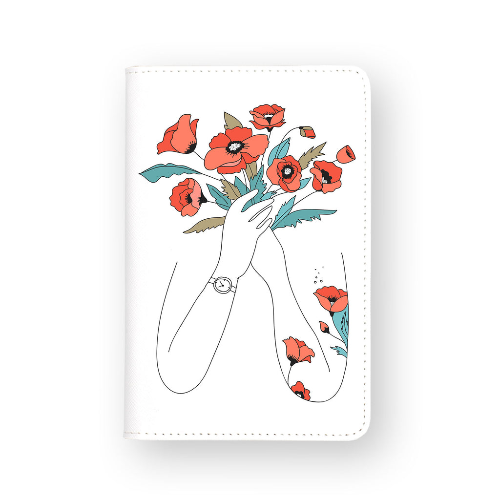 front view of personalized RFID blocking passport travel wallet with Bouquet Of Flowers B design