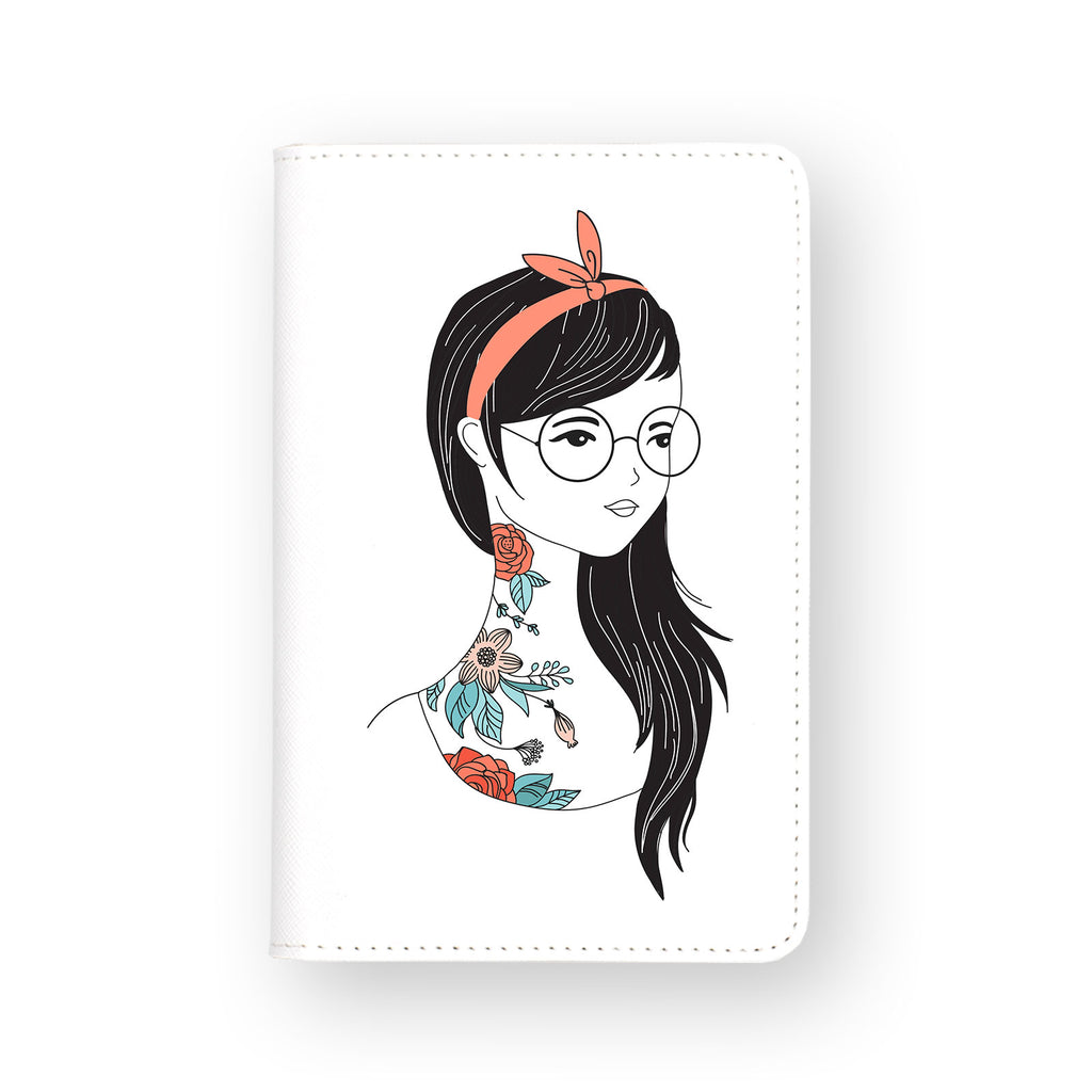 front view of personalized RFID blocking passport travel wallet with Portrait Of A Girl B design