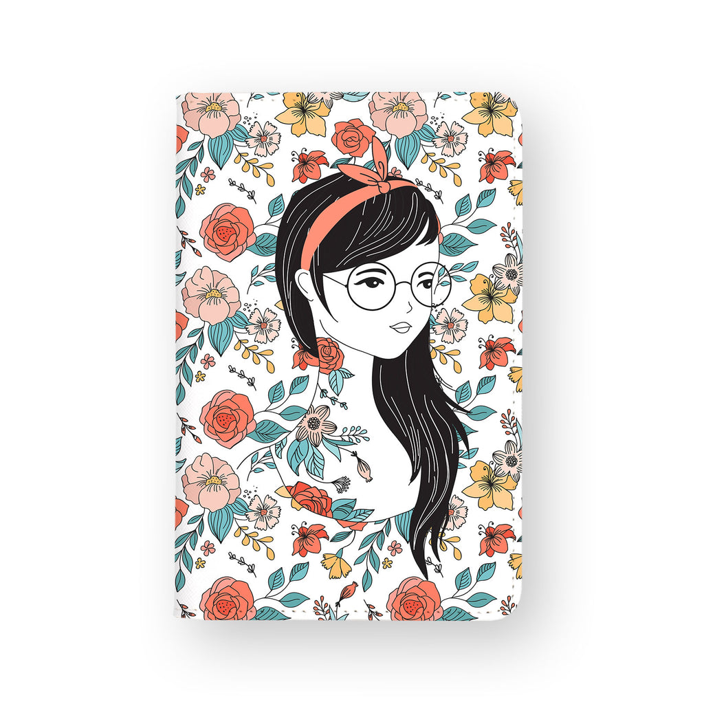 front view of personalized RFID blocking passport travel wallet with Portrait Of A Girl A design