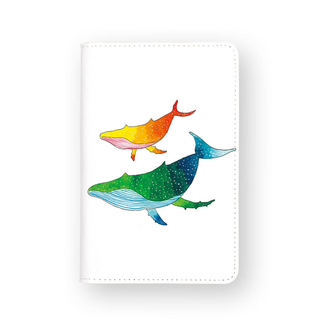 front view of personalized RFID blocking passport travel wallet with Couple Whale design