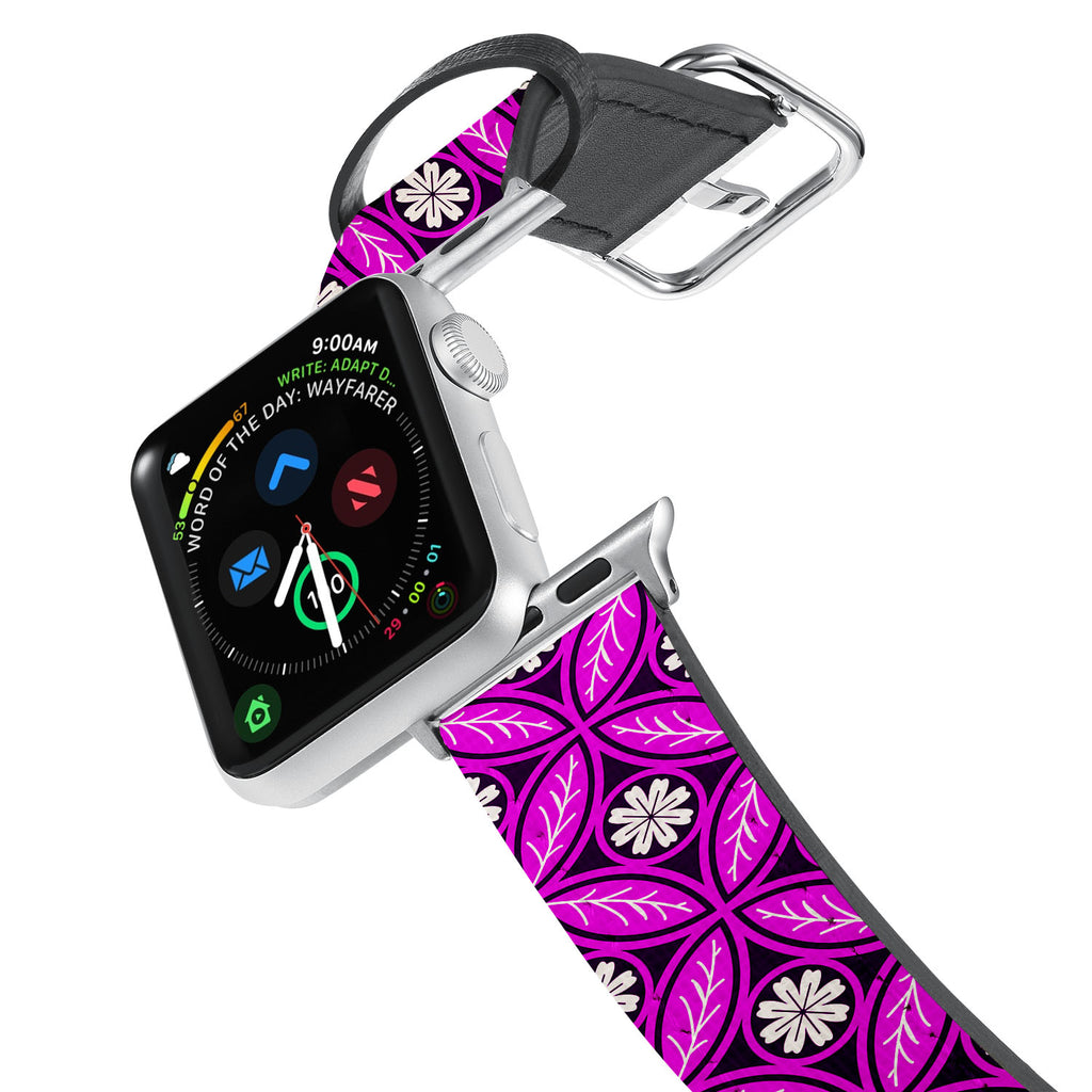 Printed Leather Apple Watch Band with Moroccan Pink Pattern design. Designed for Apple Watch Series 4,Works with all previous versions of Apple Watch.