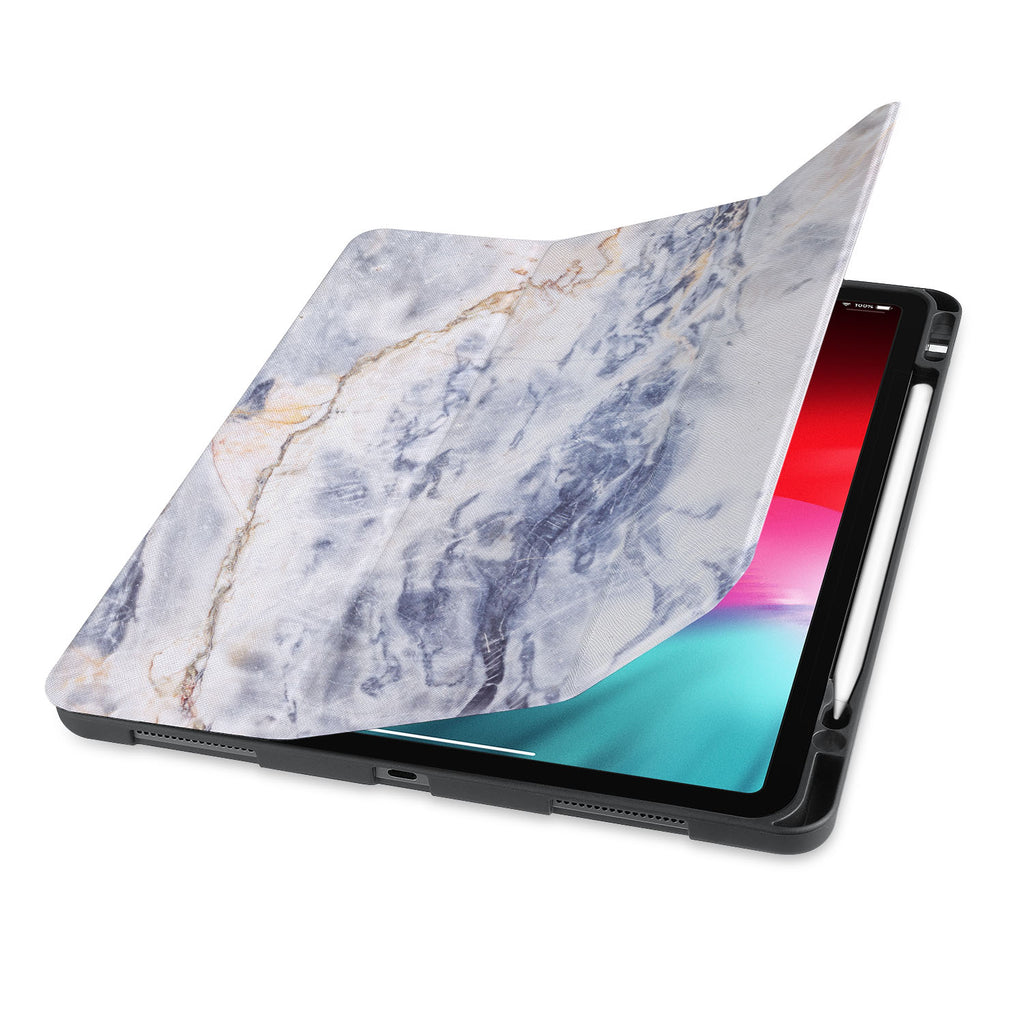 front view of personalized iPad case with pencil holder and Marble design