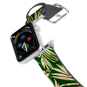 Printed Leather Apple Watch Band with Palms design. Designed for Apple Watch Series 4,Works with all previous versions of Apple Watch.