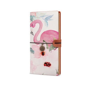 Traveler's Notebook - Flamingo-the side view of midori style traveler's notebook - swap