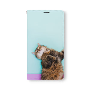Front Side of Personalized Samsung Galaxy Wallet Case with Cat design