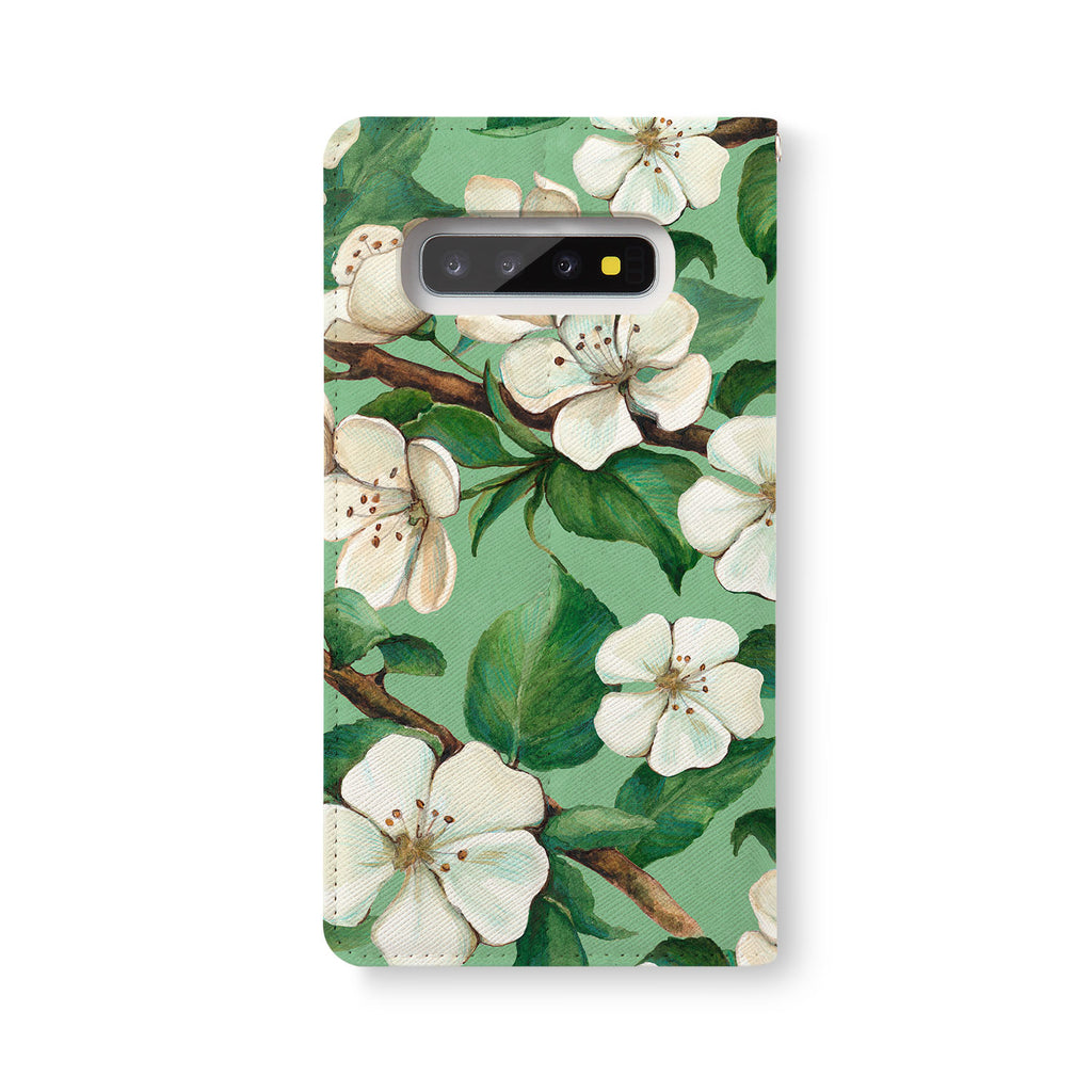Back Side of Personalized Samsung Galaxy Wallet Case with Flower design - swap