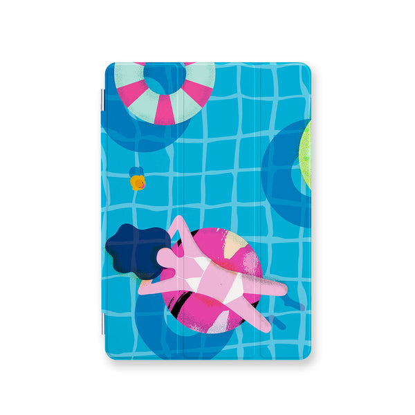 front view personalized iPad case smart cover with Hello Summer design