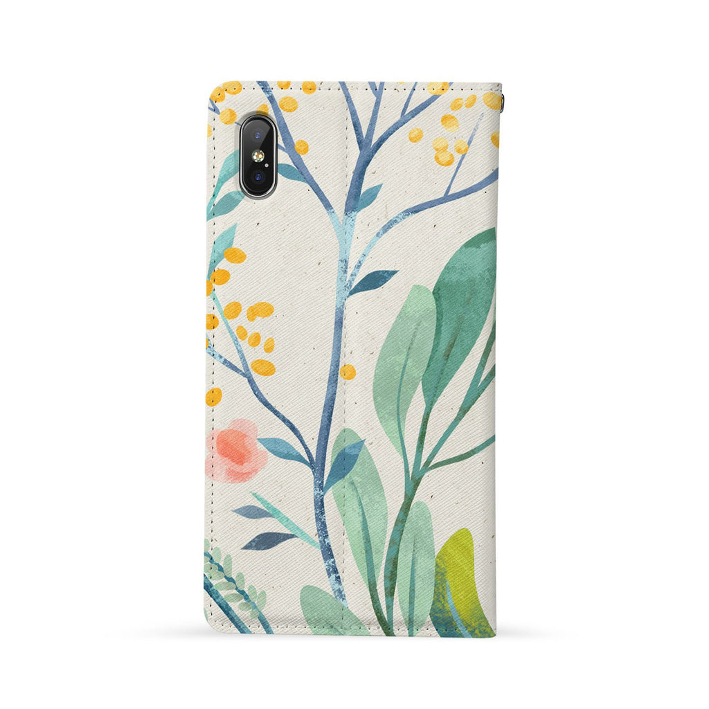 Back Side of Personalized Huawei Wallet Case with Leaves design - swap