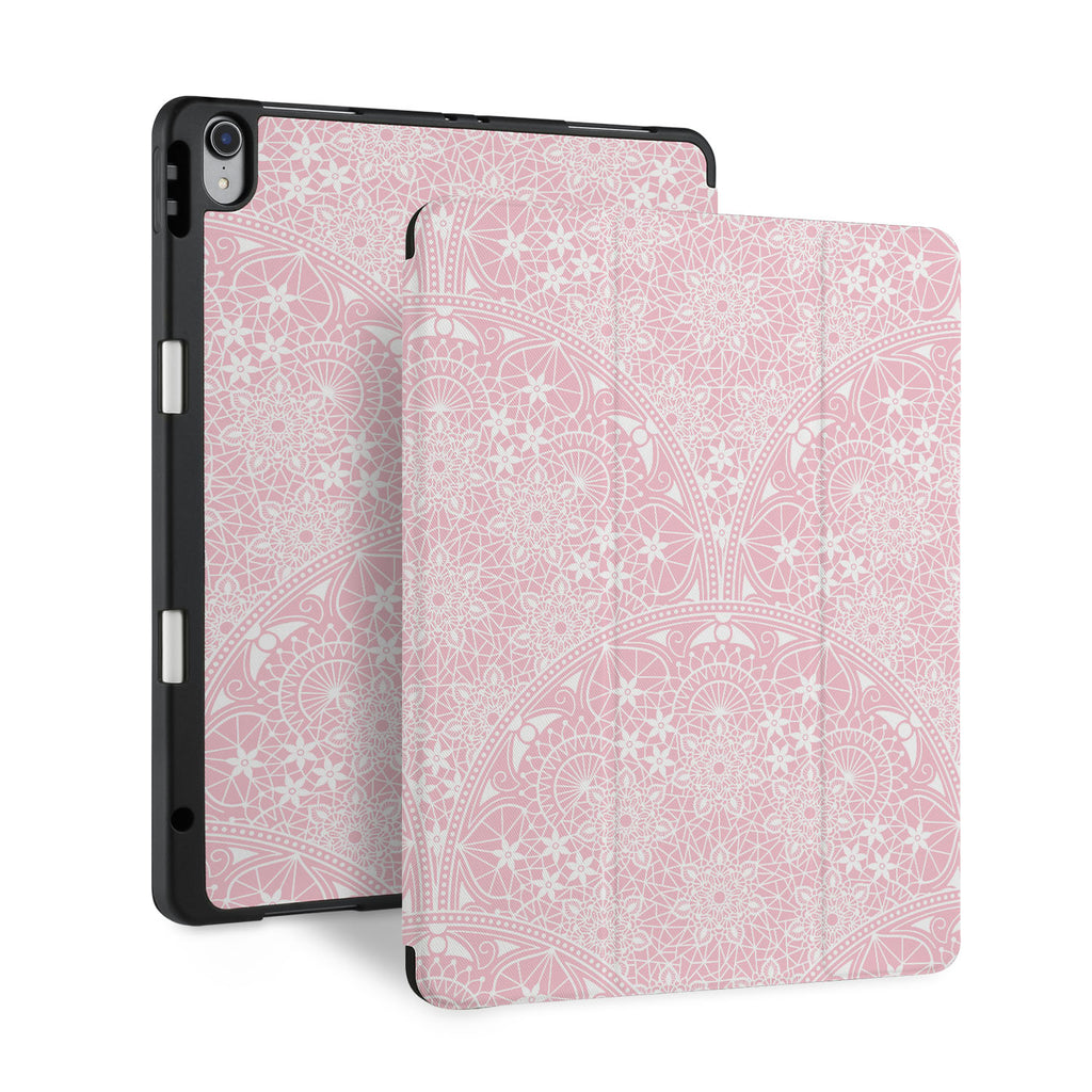 front and back view of personalized iPad case with pencil holder and Lacework design