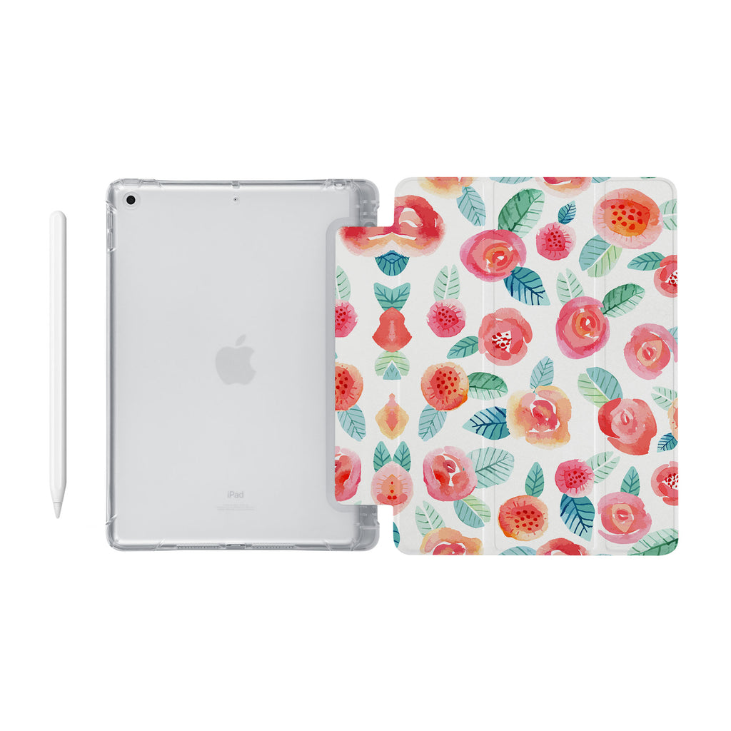 iPad SeeThru Casd with Rose Design Fully compatible with the Apple Pencil