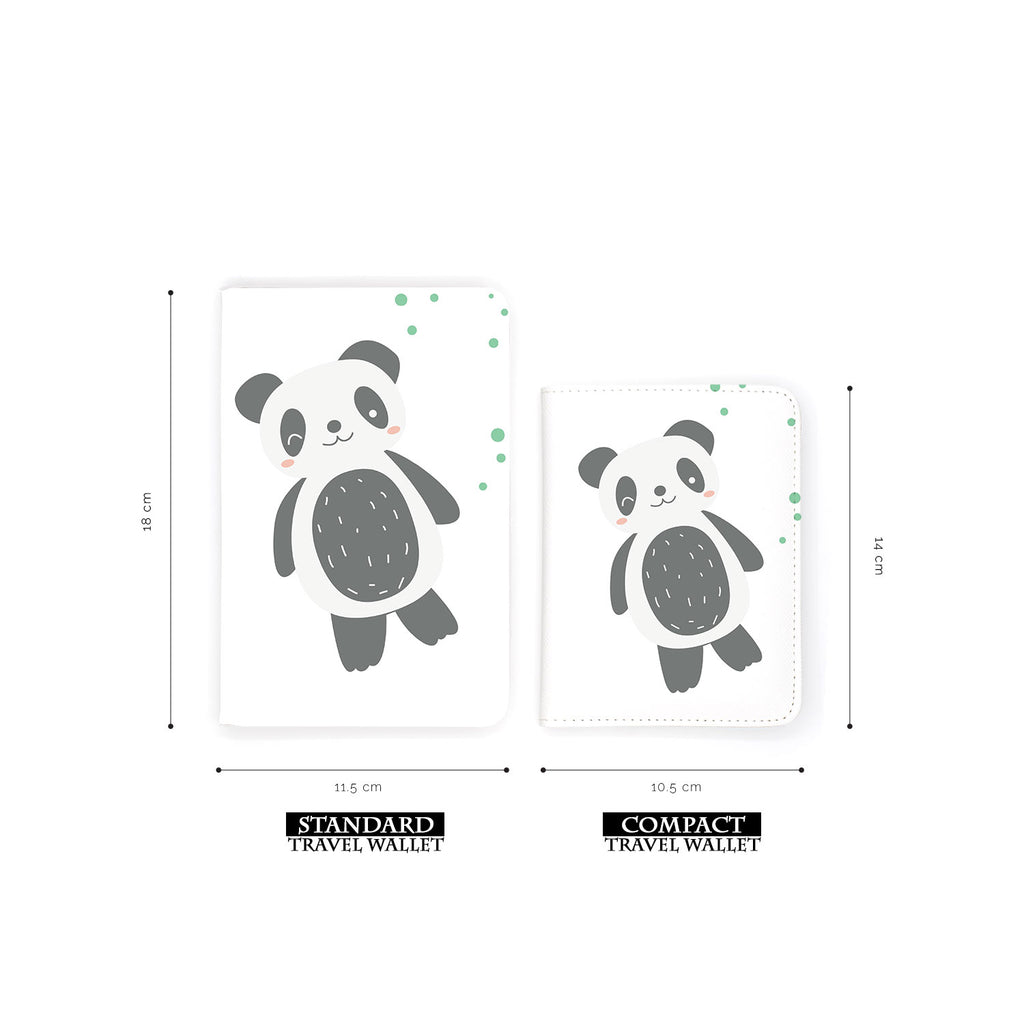comparison of two sizes of personalized RFID blocking passport travel wallet with Cute Animals design