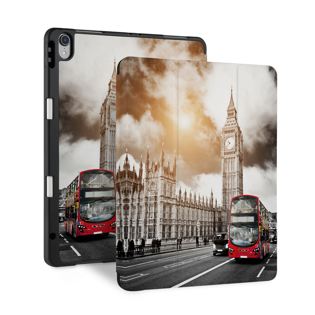 front and back view of personalized iPad case with pencil holder and London design