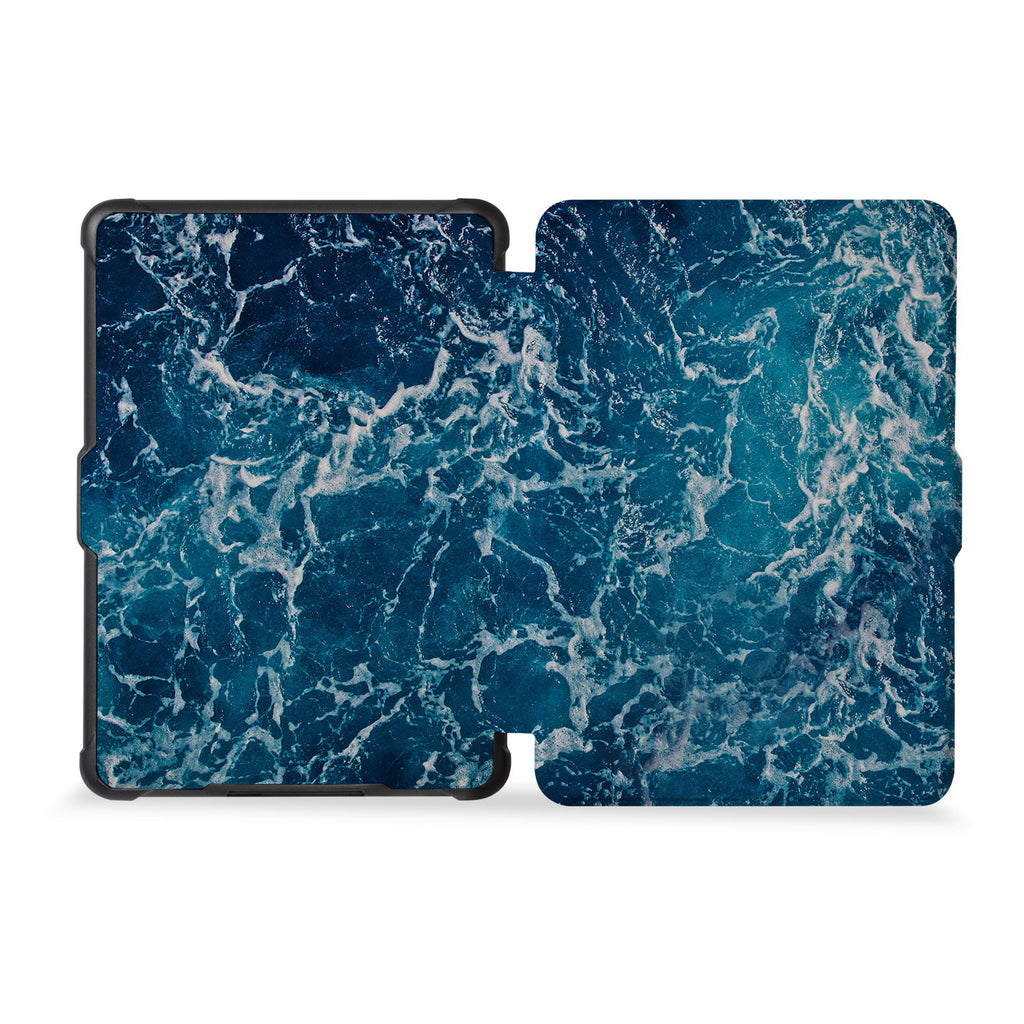 the whole front and back view of personalized kindle case paperwhite case with Ocean design