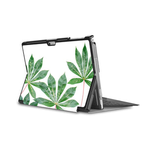 the back side of Personalized Microsoft Surface Pro and Go Case in Movie Stand View with Flat Flower design - swap