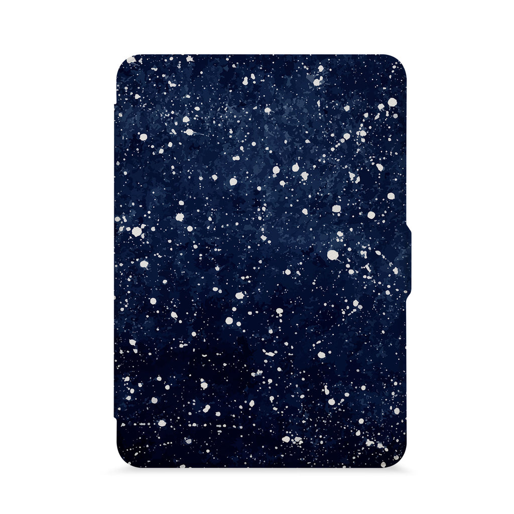 front view of personalized kindle paperwhite case with Galaxy Universe design - swap