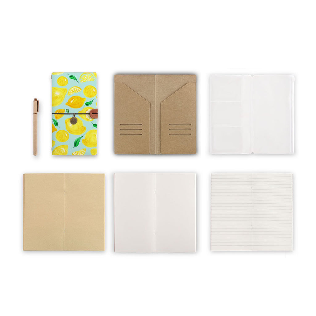 midori style traveler's notebook with Fruit design, refills and accessories