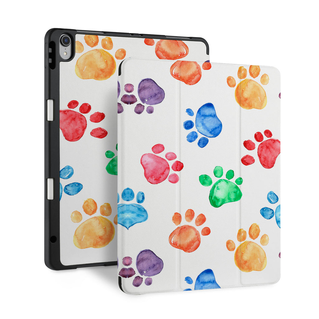 front and back view of personalized iPad case with pencil holder and Dog design