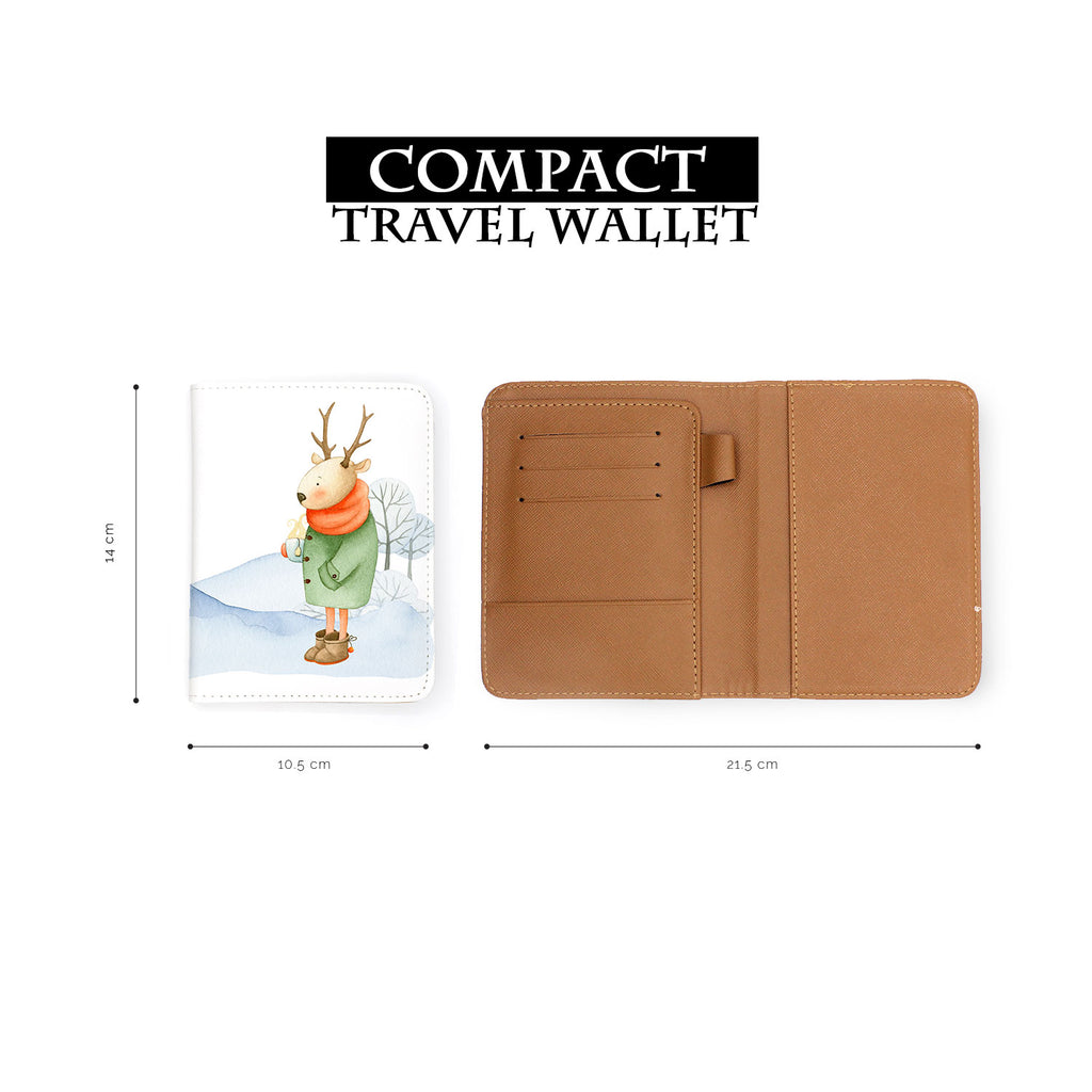 compact size of personalized RFID blocking passport travel wallet with Winter Charm design