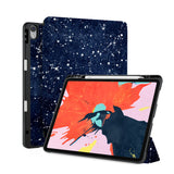 front back and stand view of personalized iPad case with pencil holder and Galaxy design