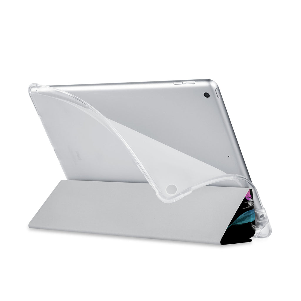 Balance iPad SeeThru Casd with Black Flower Design has a soft edge-to-edge liner that guards your iPad against scratches.